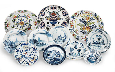 A group of 18th/19th century Delftware dishes