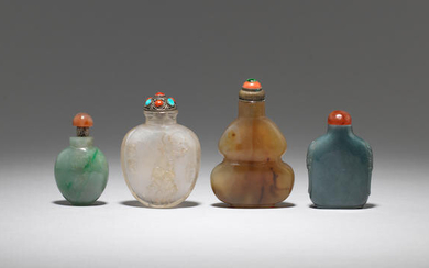 A group of four variously jadeite and hardstone snuff bottles