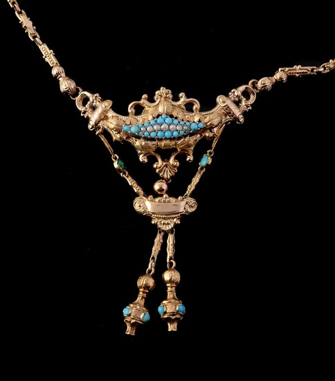 A late 19th century Continental turquoise and half pearl necklace