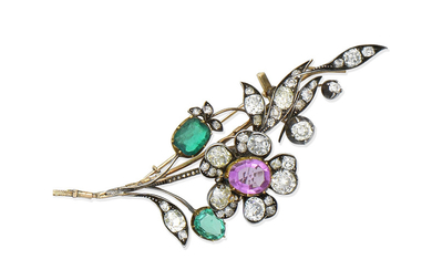 A late 19th century pink sapphire, emerald and diamond brooch
