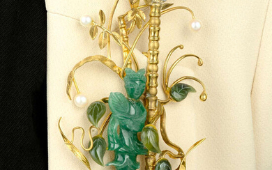 A mid 20th century carved nephrite jade, aventurine quartz and cultured pearl pendant, by Ilias Lalaounis.