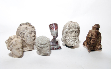 A nice group of 5 stone ancient-style heads/busts