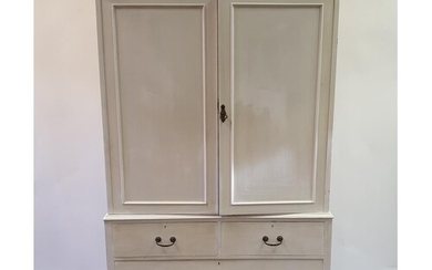A painted linen press, having two cupboard doors above two ...