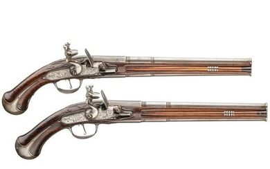 A pair of German over-and-under flintlock pistols