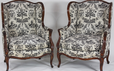 A pair of Queen Anne style armchairs