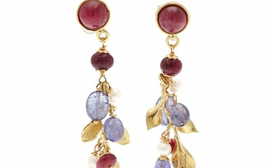 A pair of ruby, iolite and pearl ear pendants each set with three rubies, three iolites and two cultured pearls, mounted in 18k gold. (2)