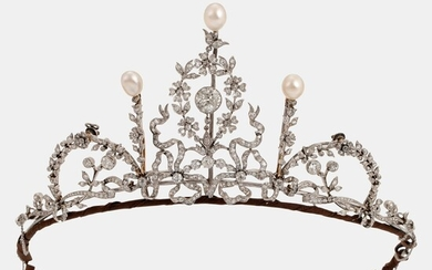 A platinum tiara/necklace combination set with old-cut diamonds and pearls