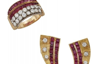A ruby and diamond ring and pair...