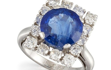 A sapphire and diamond cluster ring, designed as a square-shaped...