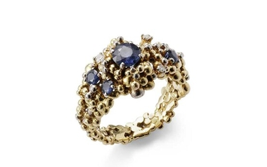 A sapphire and diamond-set ring, by Charles de Temple, 1968