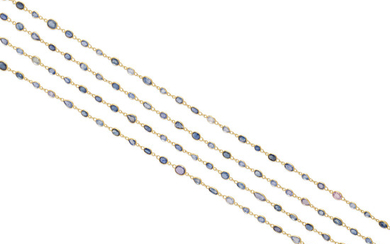 A sapphire station necklace