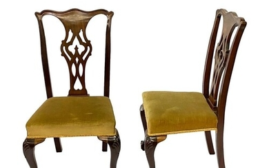 A set of six Chippendale style mahogany dining chairs, the p...