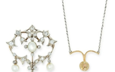 AN ANTIQUE DIAMOND AND PEARL PENDANT NECKLACE the