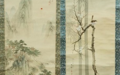 "ASIAN HAND PAINTED SCROLLS, 2 PCS, H 70""-75"""
