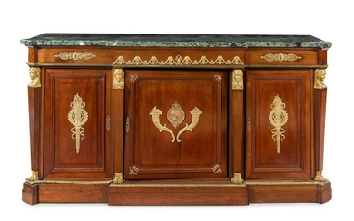 An Empire Gilt Bronze Mounted Mahogany and Marble-Top