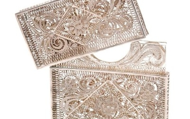 An Indian low grade silver filigree work card case, the cent...