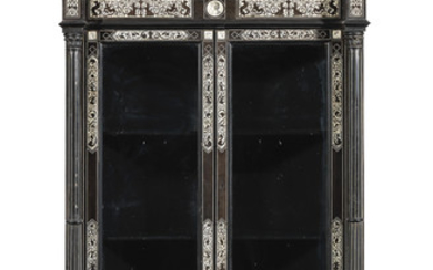 An Italian late 19th century Renaissance revival ivory marquetry ebony and ebonised display cabinet