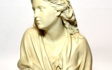 An early 20th century bisque bust of a lady