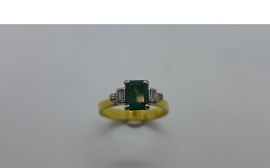 An emerald and diamond gold ring, size P/Q, approx 3.9 grams...