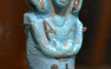 Ancient Egyptian Faience A Turqouise Fayence Shabti priest of Amun, the god's father AMENEMOPE H: 10.8 cm