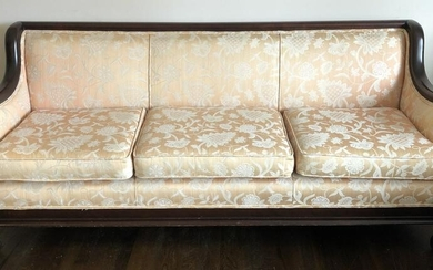 Antique American Empire Carved & Upholstered Sofa