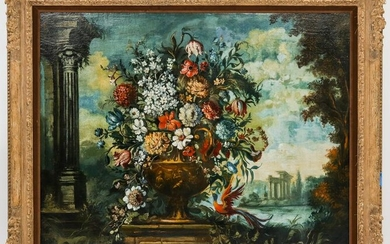 Antique Italian School Still Life & Landscape Oil