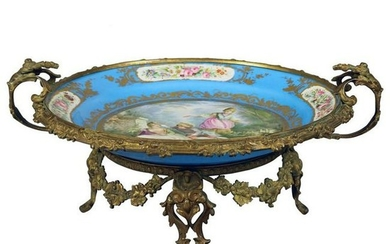 Antique Sevres Painted & Gilt Pictorial Charger