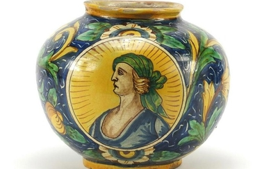 Antique majolica pottery vase hand painted with a