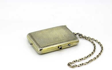 Antique make up case with chain - .950 silver, Silver gilt - France - Late 19th century