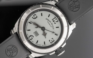 Armand Nicolet - Automatic S05-3 Diver Grey Military Rubber Strap Swiss Made- A713PGN-GN-G9610 - Men - Brand New
