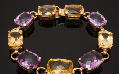 Bracelet of 585 gold with citrine and amethyst