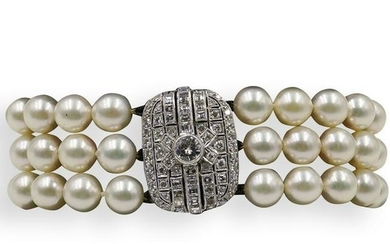 Art Deco Platinum, Pearl and Diamond Bracelet
