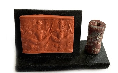 Assyrian Mesopotamian Red Granite Cylinder Seal, Figures In Boats on the River