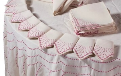 BRAZILIAN PINK EMBROIDERED AND CREAM LINEN TABLEWARES, LYGIA MEATTOS, BRAZIL
