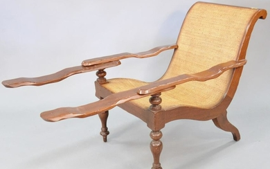 Baker plantation arm chair with swing arms and woven