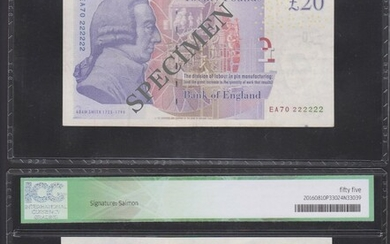 Bank of England, Andrew Bailey, £20, ND (2007) serial number EA70 666666, (EPM B405, 409)