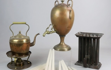 Brass Kettle, Dispenser and Candle Mold