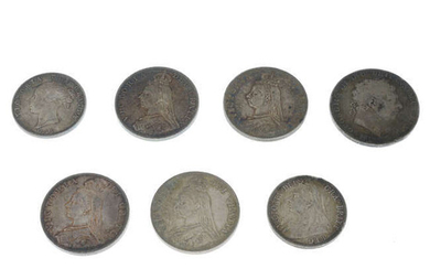 British silver coins to include Crown, Double-Florins, etc (7).