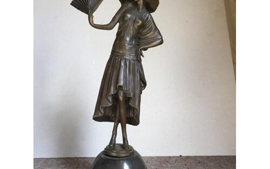 Bronze lady with fan on marble base