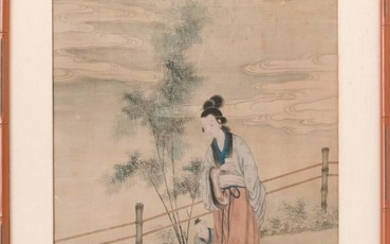 "CHINESE PAINTING ON SILK Depicting a woman and three children on a pathway lined with bamboo. 31"" x 18.5"" sight. Framed 38"" x 28""."