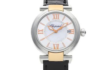 CHOPARD | IMPERIALE, A NEW OLD STOCK STAINLESS STEEL and Pink Gold WRISTWATCH WITH MOTHER-OF-PEARL DIAL AND DATE, CIRCA 2019
