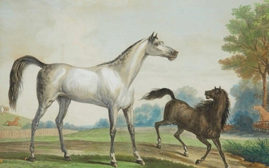 Carle Vernet, French 1758-1836- Two startled horses;...