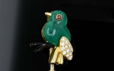 Cartier - 18 kt. Yellow gold - Brooch chrysoprasus - Diamonds, Ruby