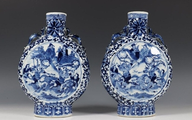 China, pair of blue and white porcelain moon...