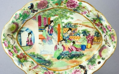 Chinese Celadon & Hand Painted Porcelain Dish