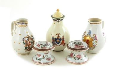 Chinese Export Armorial porcelain creamer pitchers, and pair salt cellars (5pcs)