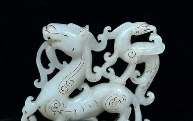 Chinese Hetian White Jade Dragon