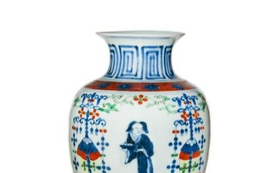 Chinese Porcelain Wucai Vase, Transitional 17th Century