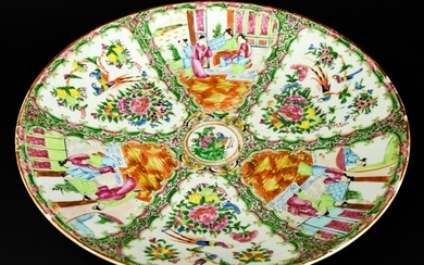 Chinese Rose Medallion Porcelain Plate 19th C.