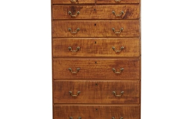 Chippendale figured maple tall chest New England, late 18th...
